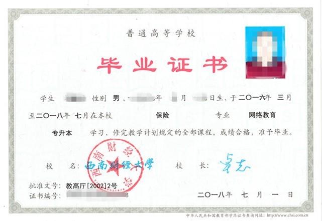 西南财经大学网教毕业证
